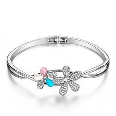 Menton Ezil 925 Silver Plated Bangle Bracelet Fairytale Design Double Flowers Rhinestone Women Fashion Jewelry for Girls * You can get additional details at the image link.