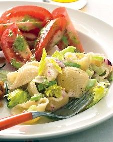Celery and onions are a refreshing addition to this creamy pasta salad.