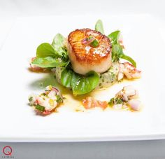 'Q Catering' Seared Diver Scallop with Cress and Lobster Dressing...  Let us assist you with your cocktail 🍸 party, corporate event, and special 🍾🎉occasion or 👰🏼wedding. For more on our services...menu ideas and options check us out and/or request a quote @ www.q.catering.com 🍽SERVING GREATER LOS ANGELES & THE SAN FERNANDO VALLEY Request a quote 📞424.218.5375  Follow us on Facebook @ Q Catering  #cateringideas #wedding #bridetobe #dtla
