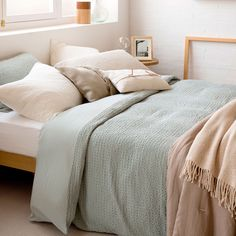 Waffle Washed Cotton Percale Duvet Cover