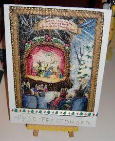 Kerst theater (canvas, stofje, kerstlint)