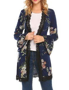 Women's Clothing, Sweaters, Cardigans, Women's Floral Print Bell Sleeve Kimono Lace Patchwork Drape Open Front Knit Cardigan - - Detailed İnformation For ; Casual Skirt Outfits, Cardigan Outfits, Coats For Women, Sweaters For Women, Clothes For Women, Kimono Fashion, Fashion Outfits, Womens Fashion, The Cardigans