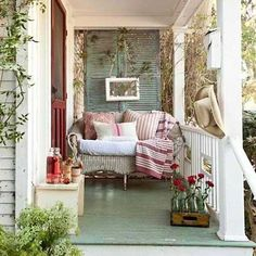 Awesome Shabby Chic Porch Decorating Ideas Because it doesn't enable your porch enough, you should decorate it beautifully. It isn't challenging to Awesome Shabby Chic Porch Decorating Ideas Style Cottage, Cottage Porch, Cozy Cottage, Cottage Living, Country Living, French Cottage, Porch Nook, Cottage Office, Cottage In The Woods