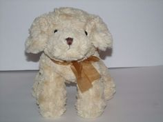 Burton-amp-Burton-Cream-Tan-Puppy-Dog-Ribbon-Plush-Stuffed-Animal-Toy-10-034 fbd15e00e37b