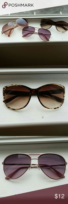 Set of 3 Sunglasses (one Elle and two aviators) Set of three pairs of sunglasses. One Elle brand and two sets of aviators (brands unknown), one with purplish pink rims and one with gold rims. Can separate the three if you are only interested in one pair! Elle Accessories Sunglasses