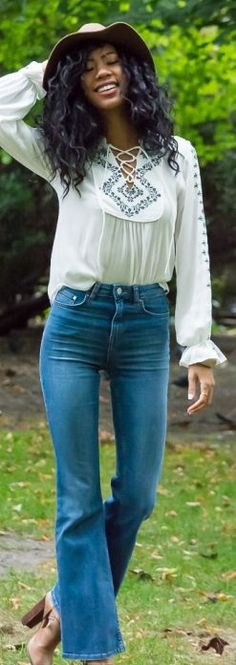 Blasiangurl Emboidered Lace-up Tunic Denim Flares Fall Inspo
