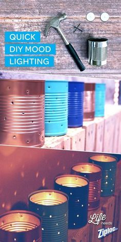 Add some mood lighting to your party by creating your own set of DIY luminaries. With just a hammer, nails, tea candles and a quick coat of spray paint you can transform old soup cans into a perfect outdoor summer day to night decoration!: