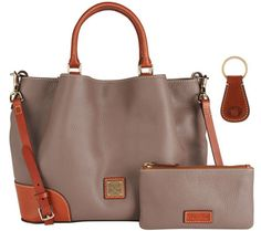 Color: Elephant .Dooney & Bourke Pebble Leather Brenna Satchel with Accessories
