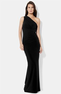 Lauren Ralph Lauren One Shoulder Matte Jersey Gown available at #Nordstrom- Perfect for me, love the shape, and it's in my favorite color!