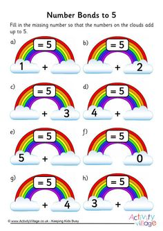 Rainbow number bonds worksheet to 5