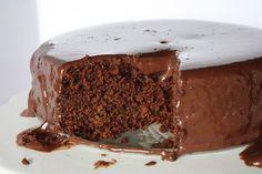 Chocolate cake has a dense fudgy texture.