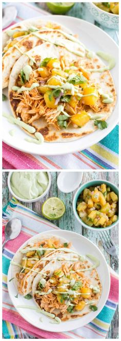 Crockpot Sriracha Chicken Tacos with Caramelized Pineapple Salsa from CrockPot Gourmet [Featured on SlowCookerFromScratch.com]