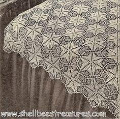 """""""Star Dust"""" Crocheted Bedspread Pattern - Vintage 1949"""