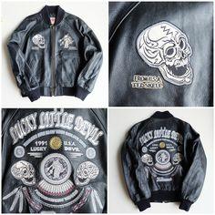TEDMAN Japanese Lucky Devil Evil Skull Skeleton Punk Biker Gang Gangsta Rock Punk Leather MA-1 Flight Bomber Jacket Sukajan - Japan Lover Me Store
