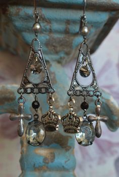 Vintage glass jeweled earrings crowns cross pearl by Purrrls