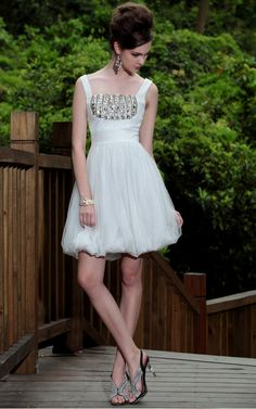 White Square Neck Beaded/Pleats Prom/Ball/Cocktail/Party Dress