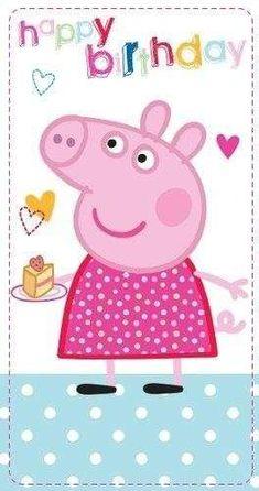 Invitaciones cumpleaños Peppa Pig: Fotos ideas DIY - Peppa Pig con pastel de cumpleaños