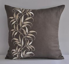 Taupe Beige Pillow Cover Decorative Throw Pillow Cover Medium Taupe Linen Beig - Pillows Case - Ideas of Pillows Case - Taupe Beige Pillow Cover Decorative Throw Pillow Cover Medium Taupe Linen Beige Leaves Embroidered Pillow Accent Leaves Couch Pillow Beige Pillow Covers, Diy Pillow Covers, Beige Pillows, Floral Pillows, Decorative Pillow Covers, Decorative Leaves, Cushion Embroidery, Floral Bedroom, Cushion Cover Designs