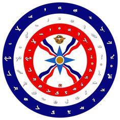 Assyrian flag and alphabet