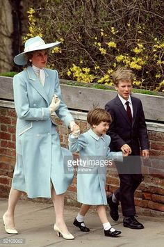Diana Princess Of Wales With Her Son Prince William And Her Nephew Peter Phillips On Their Way To Easter Service The Princess Is Wearing A Pale Blue...