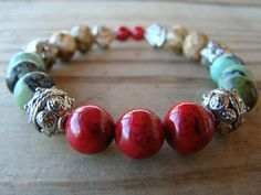 Jasper Red Mountain Jade and Silver Stretch by BeJeweledByCandi, $20.00