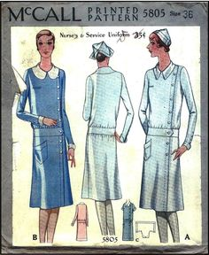 1920s Nurse Uniform Sewing Pattern - McCall 5805.....wow how things have changed!