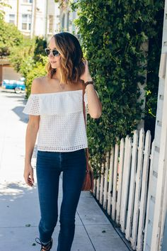 off shoulder top, white shirt and jeans — via @TheFoxandShe
