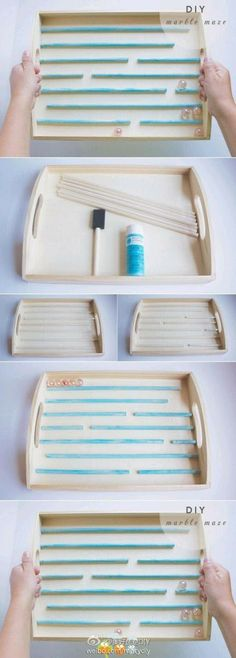 Make a rolling marble game from a tray & chopsticks.