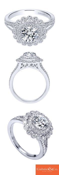 Fall in love with this classic 14k White Gold Diamond Double Halo Engagement Ring. This gorgeous sparkling diamond engagement ring will make any bride-to-be beam with joy! Discover this perfect engagement ring or design your own at Gabriel & Co.