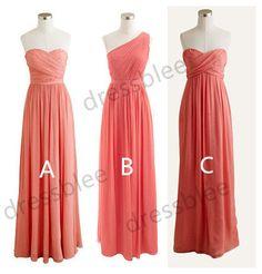 Long Coral Chiffon Bridesmaid Dresses, Sweetheart Bridesmaid Dresses, One Shoulder Bridesmaid Dress