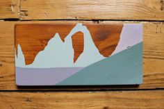 Inspiration for my mountain pieces comes from the time Ive spent in the mountains, as well as photos Ive taken from my skiing/snowboard adventures. Tignes is part of a larger ski area entitled Espace Killy, miles upon miles of skiable terrain, stunning views and some of the best skiing in the Alps. At the top of LAiguille Percee lift (2748m), you get a stunning view of Tignes famous rock formation Eye of the Needle. Hand painted mountains in shades of grey, pink and violet. Stained with an…