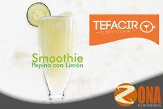 """Te recomendamos este delicioso """"Smoothie de Pepino / Limón, lo puedes pedir con un toque de chile tajin y te sabrá delicioso #ZonaPlazaComercial #Tefacir"""