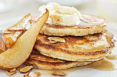 Oat hot cakes with maple pears and almonds recipe, NZ Womans Weekly – A great brunch idea for a lazy weekend Makes 10 hot cakes - Eat Well (formerly Bite) Ginger Pudding Recipe, Baked Pears, Individual Cakes, Almond Recipes, Breakfast Time, I Love Food, Dessert Recipes, Desserts, Almonds