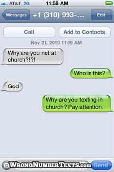 haha - God does have a funny sense of humor! Funny Shit, Funny Texts Jokes, Text Jokes, Funny Text Fails, Funny Text Messages, Funny Stuff, Funny Things To Text, Text Pranks, Epic Texts