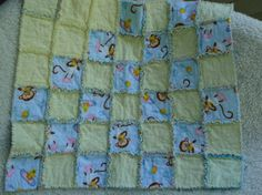 """This fun flannel """"rag"""" quilt has an adorable """"bathtime monkeys"""" pattern and soft yellow flannel squares. You can see more pictures at www.etsy.com/shop/organicinspired"""