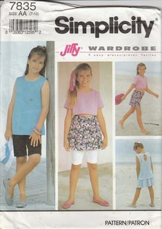 195656fd0136 Girls Bicycle Shorts Pattern Skirt Top Summer Clothes Size 7 - 8 - 10 Uncut  Simplicity 7835