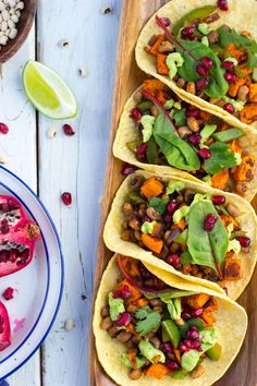 Black Eyed Pea and Sweet Potato Tacos with Pomegranate Seeds #glutenfree #vegan