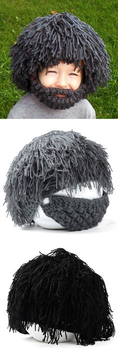 Woolen Yarn Imitated Wig Knitted Beard Face Hat For Men and Women