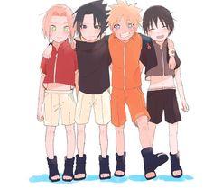 Team 7 - Naruto, Sasuke, Sakura and Sai. Kakashi, Naruto And Sasuke, Anime Naruto, Naruto Team 7, Naruto Comic, Naruto Uzumaki Shippuden, Naruto Cute, Sakura And Sasuke, Minato Kushina