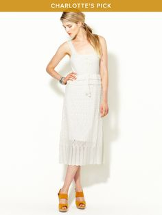 Knit pointelle midi dress by Charlotte Ronson