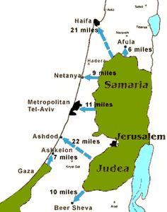 Map Of 1967 Six Day War between Israel, Egypt, Jordan and Syria.