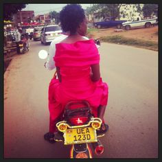 Wish I looked this glam on my Boda. Spotted at Kabalagala in Kampala.