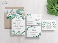 Wedding Invitation  Eucalyptus Wedding by PaperMinxDesigns on Etsy