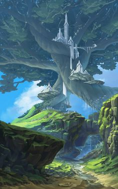 DrawCrowd is a place to fund your creativity. Fantasy Concept Art, Fantasy Artwork, High Fantasy, Fantasy World, Fantasy Landscape, Landscape Art, Manga Rock, Dnd Art, Fantasy Places