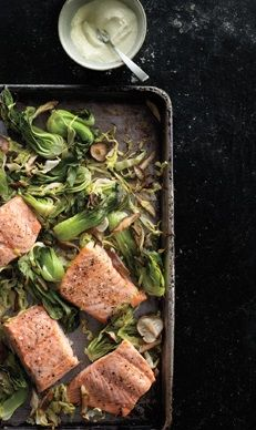 WASABI GINGER GARLIC MAYONNAISE SALMON with BOK CHOY, GREEN CABBAGE & SHIITAKE [epicurious]