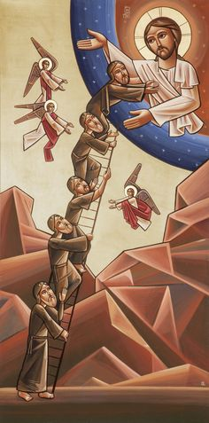 Neo-Coptic rendition - The ladder of ascent of John Climakos, Fadi Mikhail 2014