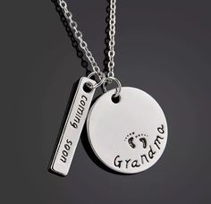 Granny Grandparent Baby Announcement Silver handstamped jewelry necklace pendant grandma grandmother gift grandma to be grandma jewelry