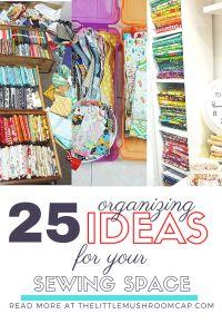 25 organizing ideas for sewing room - The Little Mushroom Cap: A Quilting Blog Sewing Room Organization, Organizing Ideas, Organization Hacks, Bobbin Storage, Ashlynn Ella, Quilt Ladder, Ikea Raskog, Scrapbook Box