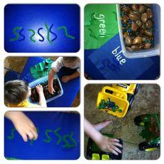 Sensory bin:  digging for worms Sorting, counting, patterns, sensory play, exploration  Mommy.Nanny.Guru.