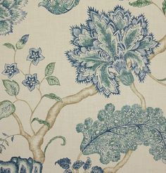 Palampore Fabric A large printed floral Jacobean design in blues on a printed textured beige background.